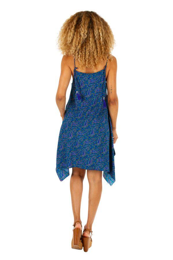 Robe asymétrique imprimée bleue look décontracté Katy 307030