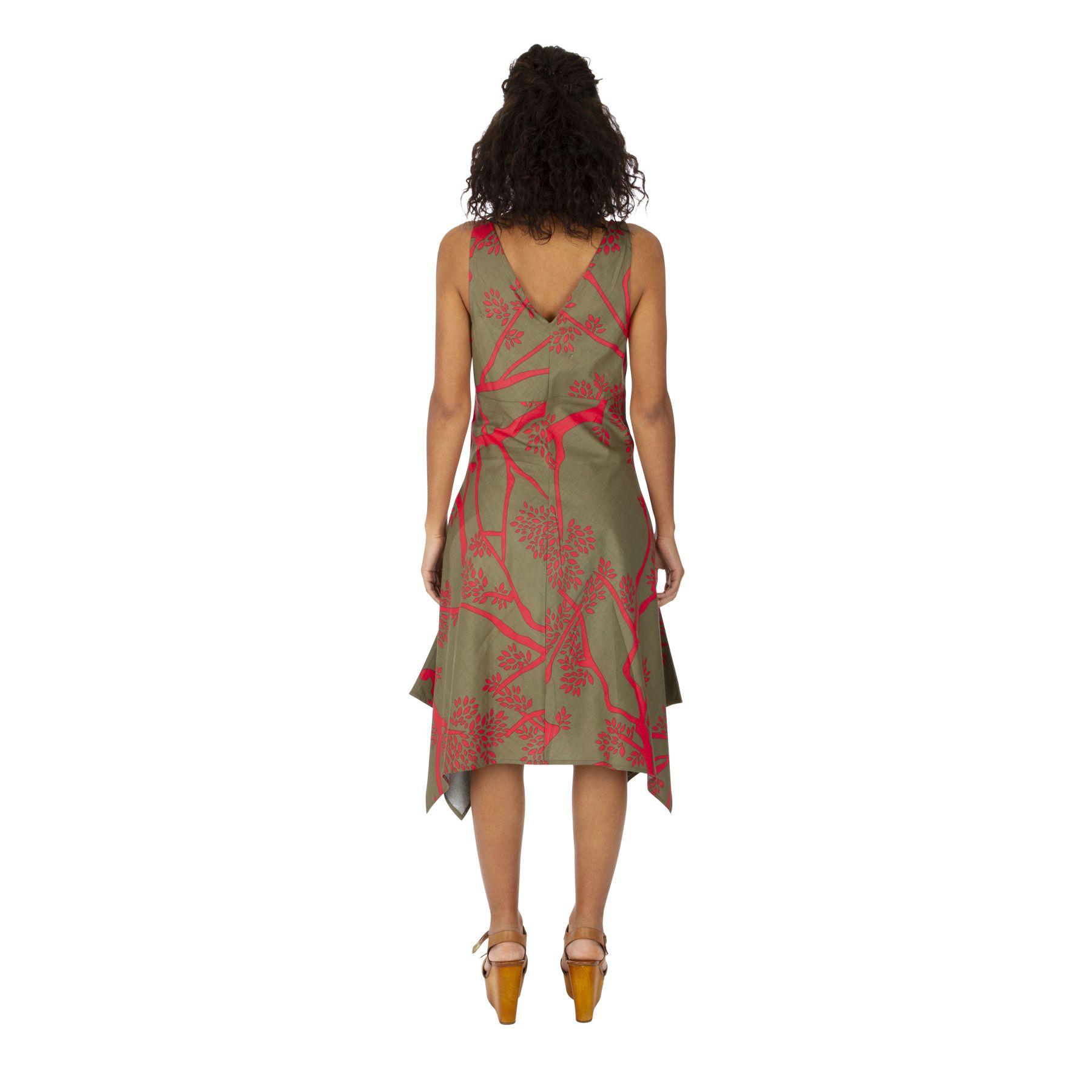 Robe asymétrique mi longue imprimé fleuri original Coline