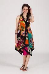 robe asymétrique sans manche originale motif ethnique Kat 288241