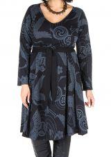 Robe automne hiver Originale pour femme Pulpeuse imprimée chaillenise 300372