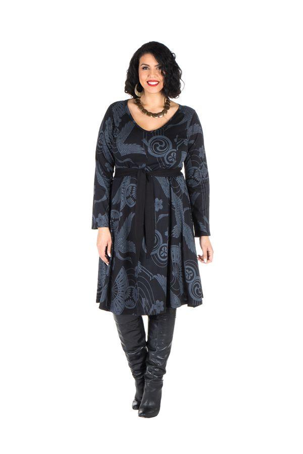 Robe automne hiver Originale pour femme Pulpeuse imprimée chaillenise 300373