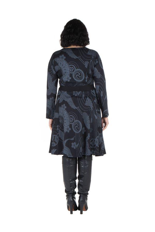 Robe automne hiver Originale pour femme Pulpeuse imprimée chaillenise 300375