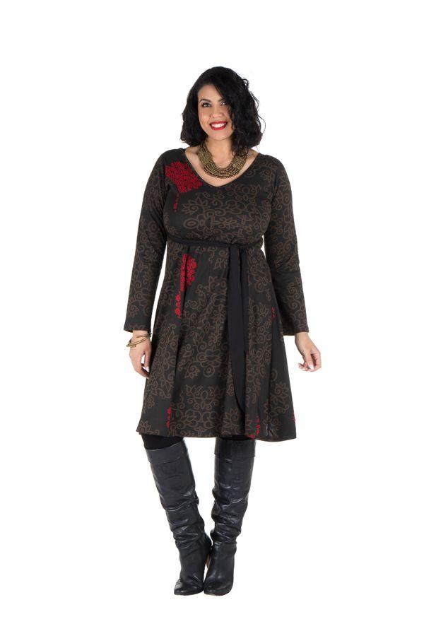 Robe automne hiver Originale pour femme Pulpeuse motifs sakura 300397