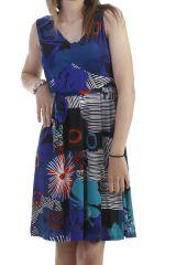 Robe avec imprimé floral sans manche bleue Joncquille 296649