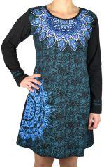 Robe avec un imprimé ethnique dans les tons de bleu Samuda