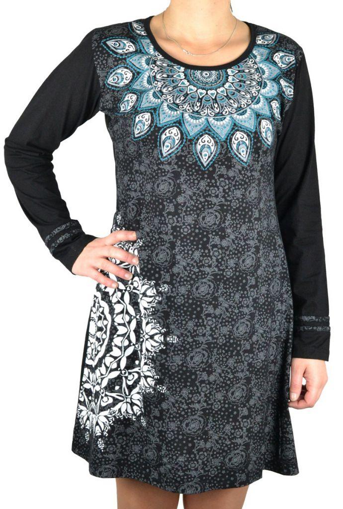 Robe avec un imprimé ethnique dans les tons de gris Samuda 304534