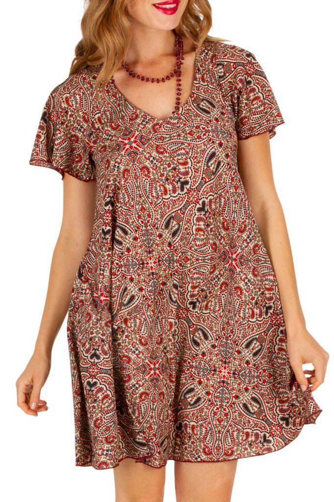 Robe avec un imprimé ethnique style bohème Cleya 307016