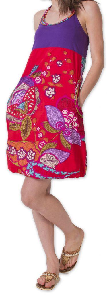 Robe Bicolore courte d'été Ethnique et Colorée Balon Violette 276826