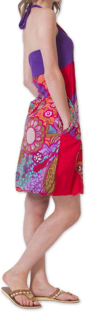 Robe Bicolore courte d'été Ethnique et Colorée Balon Violette 276827