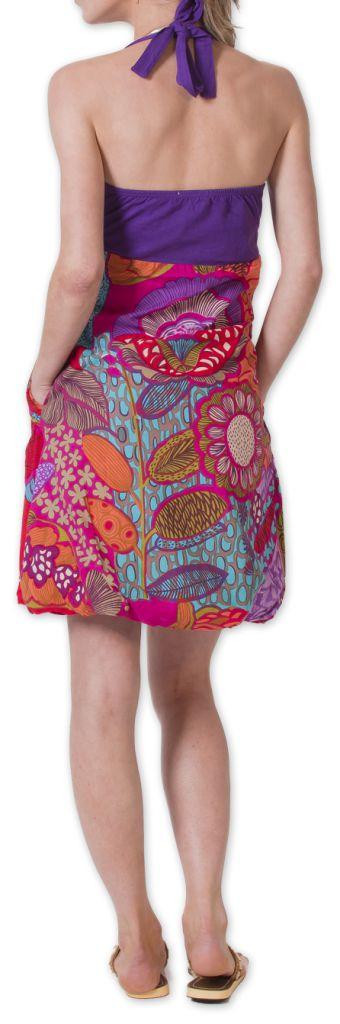 Robe Bicolore courte d'été Ethnique et Colorée Balon Violette 276828