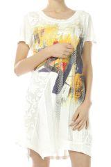 Robe blanche colorée et originale courte pour l'été Yasmine 303005