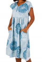 Robe blanche et bleue mi-longue en coton léger Ayli 306616