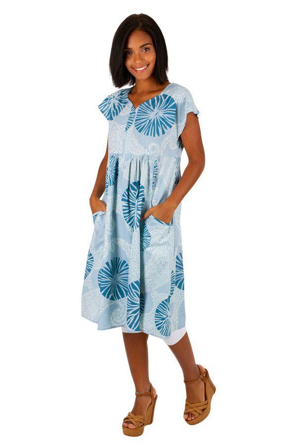 Robe blanche et bleue mi-longue en coton léger Ayli 306617
