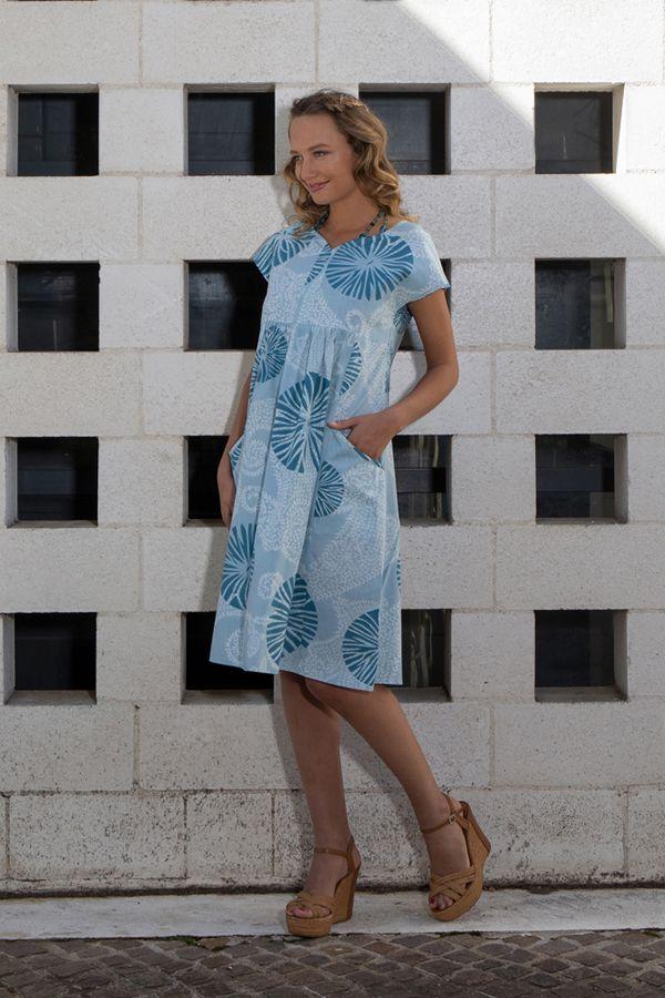 Robe blanche et bleue mi-longue en coton léger Ayli 306619