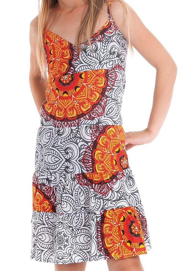 Robe Blanche et Orange pour Enfant à col en V Ethnique Plumette 280524