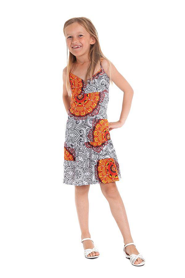 Robe Blanche et Orange pour Enfant à col en V Ethnique Plumette 280525