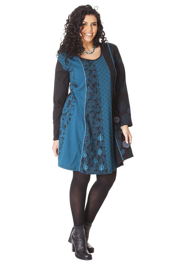 Robe Bleue à col rond Size + Ethnique et Evasée Layla 286099