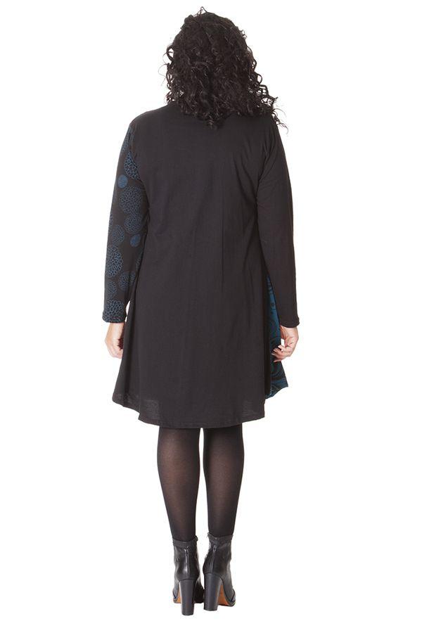 Robe Bleue à col rond Size + Ethnique et Evasée Layla 286100