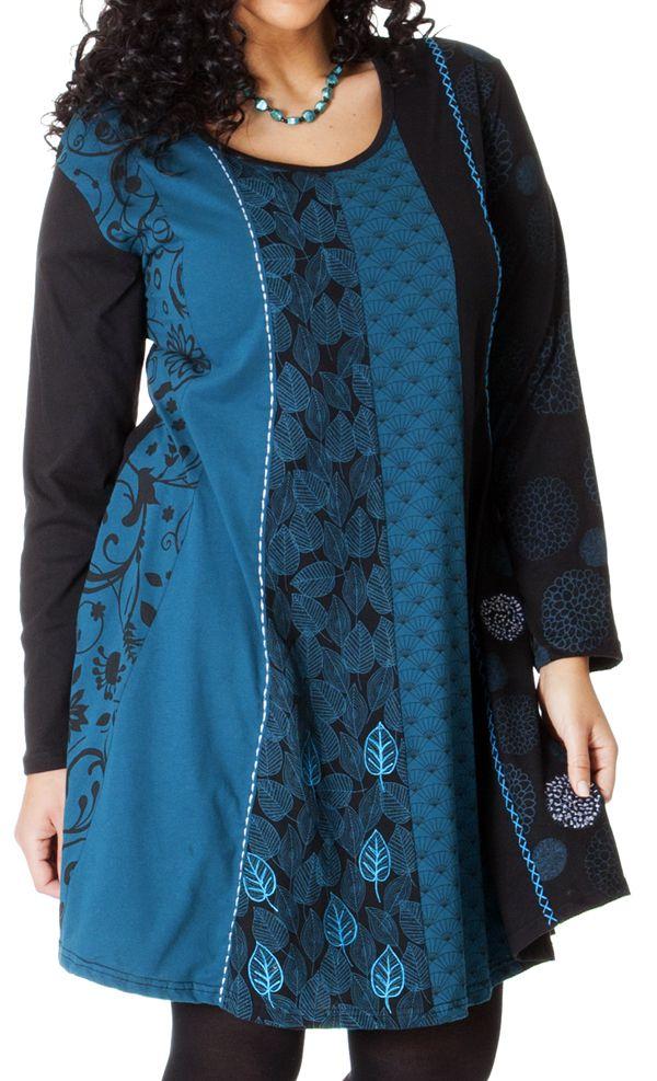 Robe Bleue à col rond Size + Ethnique et Evasée Layla 286971