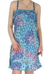Robe Bleue à fines bretelles Imprimée et Colorée Dalaja 285118