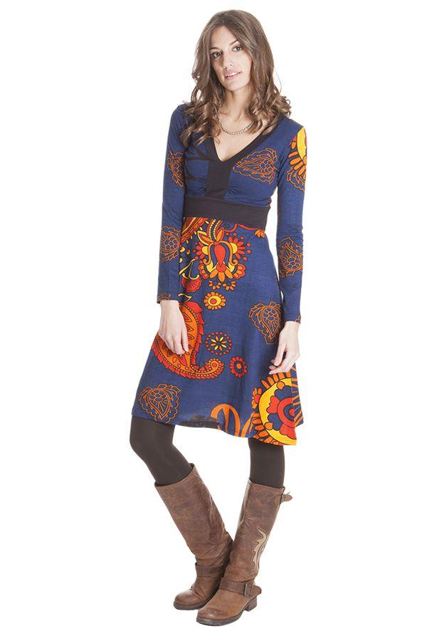 Robe Bleue à manches longues et Col en V Ethnique Justine 285425