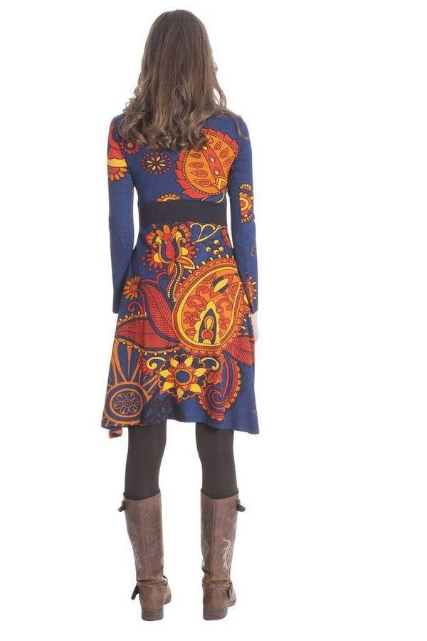 Robe Bleue à manches longues et Col en V Ethnique Justine 285426
