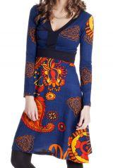 Robe Bleue à manches longues et Col en V Ethnique Justine 287143
