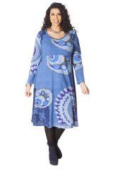 Robe Bleue Ambraza pour femme pulpeuse Ethnique et Colorée 286263