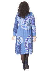 Robe Bleue Ambraza pour femme pulpeuse Ethnique et Colorée 286264