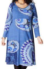 Robe Bleue Ambraza pour femme pulpeuse Ethnique et Colorée 286767