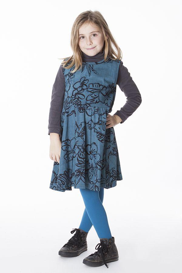 Robe bleue avec des motifs floraux pour enfant 287389