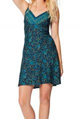 Robe bleue courte imprimé fleurs femme style caraco d\'été Cornelia