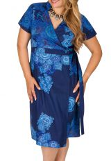 Robe bleue effet cache-coeur femme grande taille Noumy 309252
