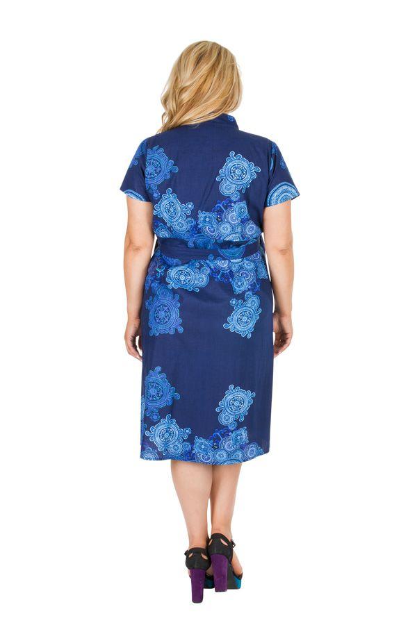 Robe bleue effet cache-coeur femme grande taille Noumy 309254