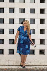 Robe bleue effet cache-coeur femme grande taille Noumy 309255