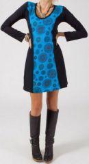 Robe bleue ethnique et originale courte pas chère Florence
