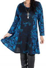Robe bleue évasée en coton d'automne Birsha 301629