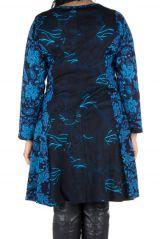 Robe bleue évasée en coton d'automne Birsha 301631