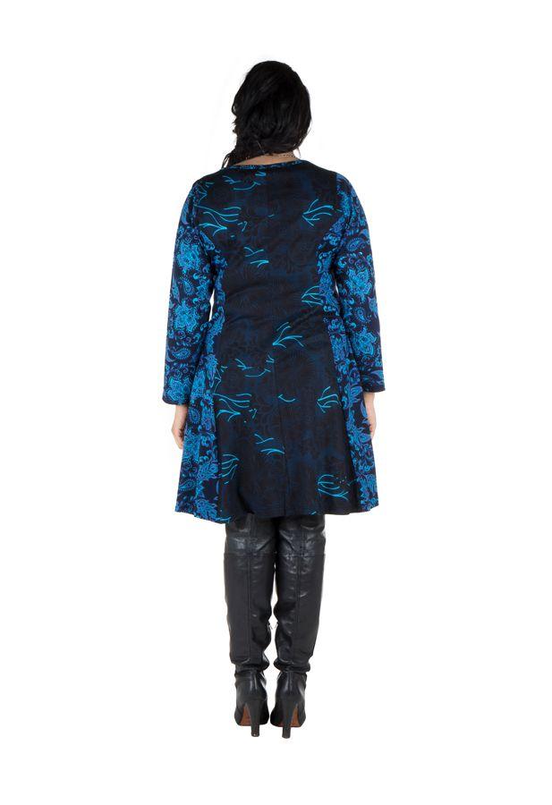 Robe bleue évasée en coton d'automne Birsha 301632