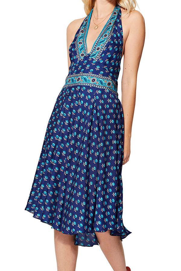 Robe bleue femme à dos nu fluide d\'été Serina