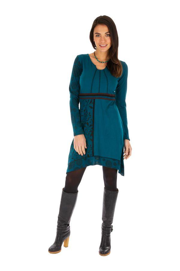 Robe bleue femme chic avec imprimés et broderie Celya 312952