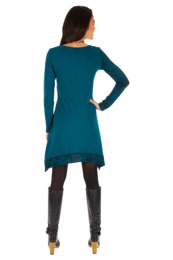 Robe bleue femme chic avec imprimés et broderie Celya 312953