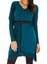 Robe bleue femme chic avec imprimés et broderie Celya 315546