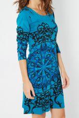 Robe bleue originale imprimée arabesques Elijah 287897
