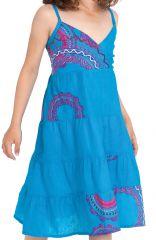 Robe Bleue pastel pour Enfant à col en V Ethnique Plumette 280522
