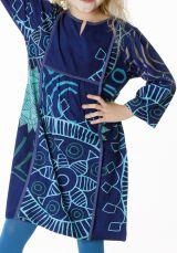 Robe bleue pour enfant avec un petit col en V 287313