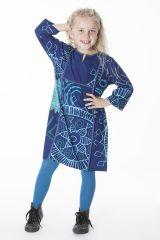Robe bleue pour enfant avec un petit col en V 287314