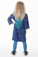 Robe bleue pour enfant avec un petit col en V 287315