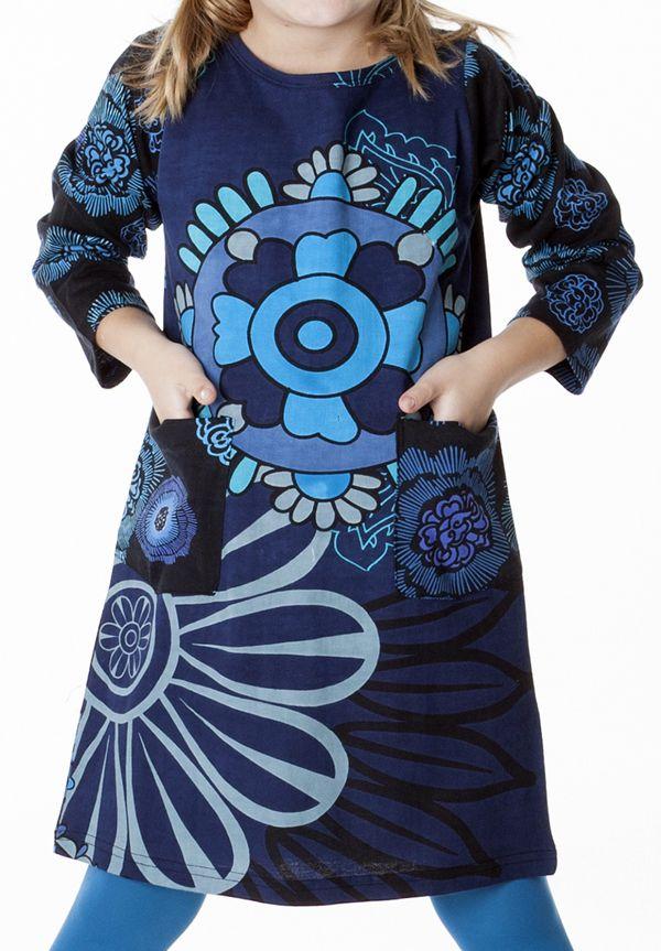 Robe bleue pour fille avec un imprimé de fleurs 287282