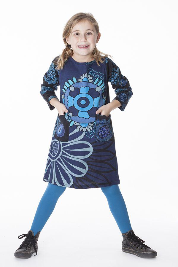 Robe bleue pour fille avec un imprimé de fleurs 287283